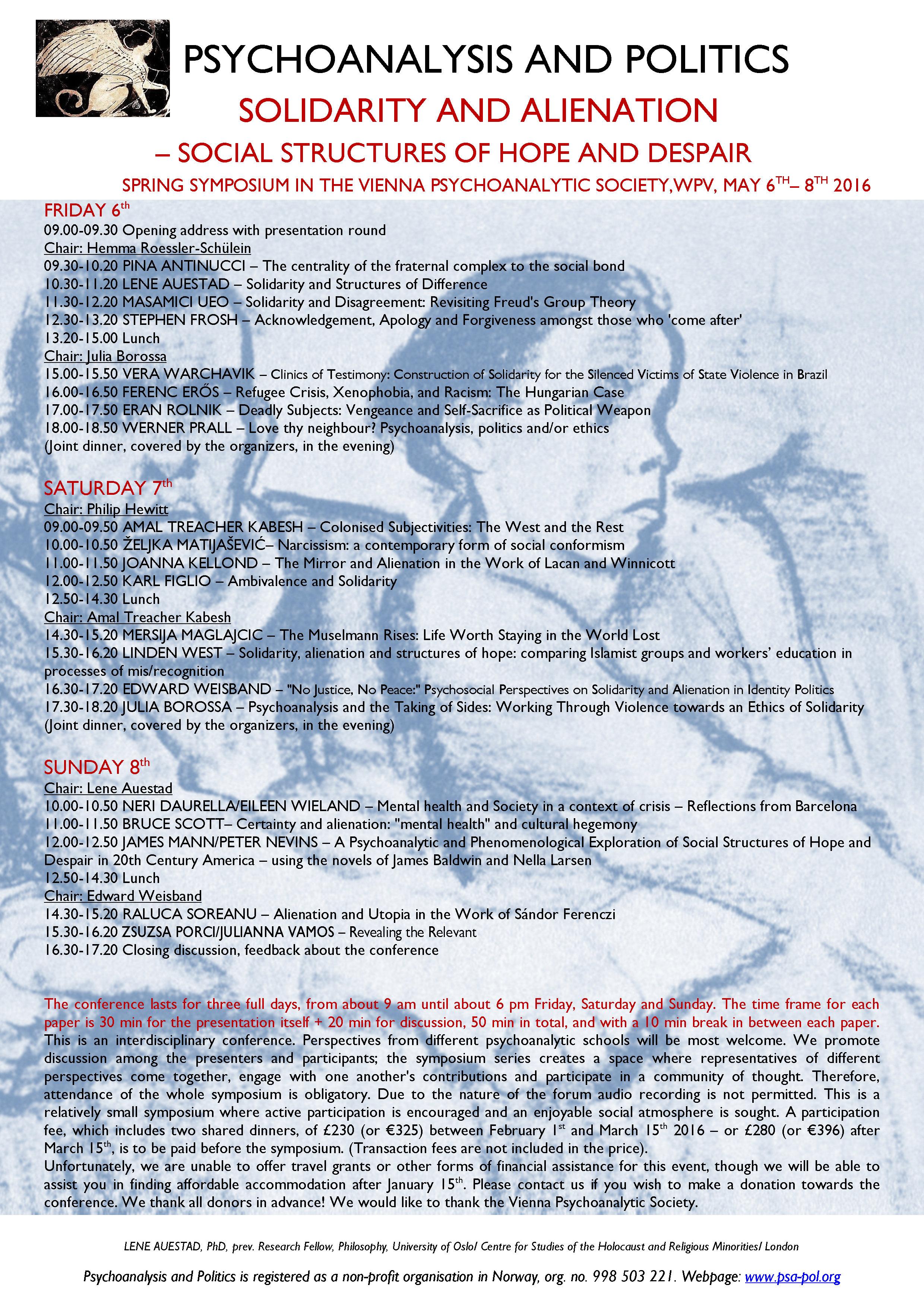 Programme Vienna March 10th